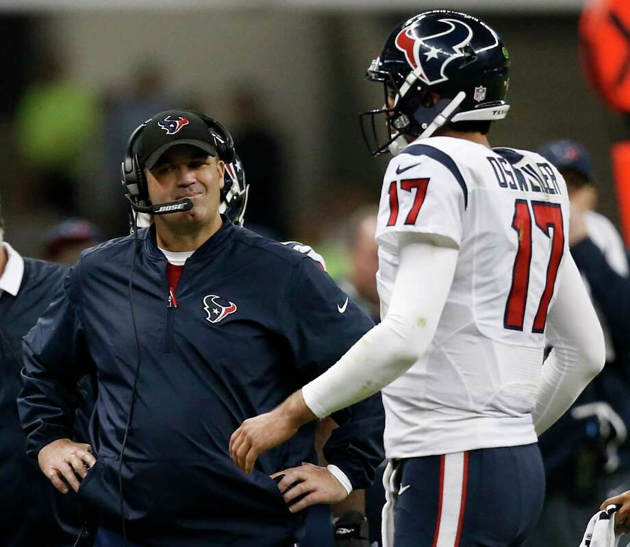 Houston Texans head coach Bill O'Brien stands by quarterback Brock Osweiler (17) as he walks to the sidelines during a time out during the fourth quarter against the Oakland Raiders of an NFL football game at Estadio Azteca on Monday, Nov. 21, 2016, in Mexico City. ( Brett Coomer / Houston Chronicle ) Photo: Brett Coomer, Staff / © 2016 Houston Chronicle