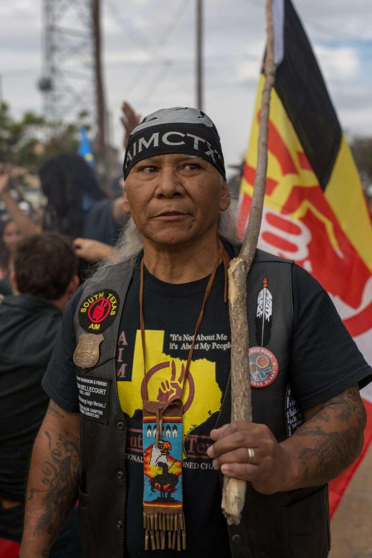 Anti-pipeline activist Pedro Rabago Gutierrez, AKA Pete Hefflin, at a march