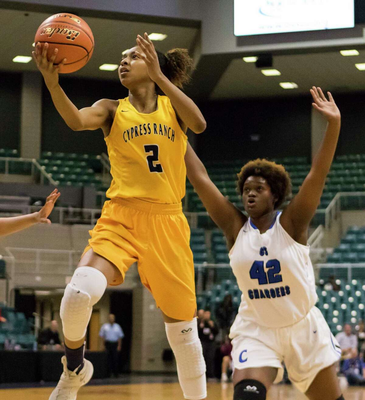 Cy Ranch's DiDi Richards, left, leads the No. 4 Eagles into a top-five showdown against No. 3 Pflugerville in the Class 6A state semifinals.
