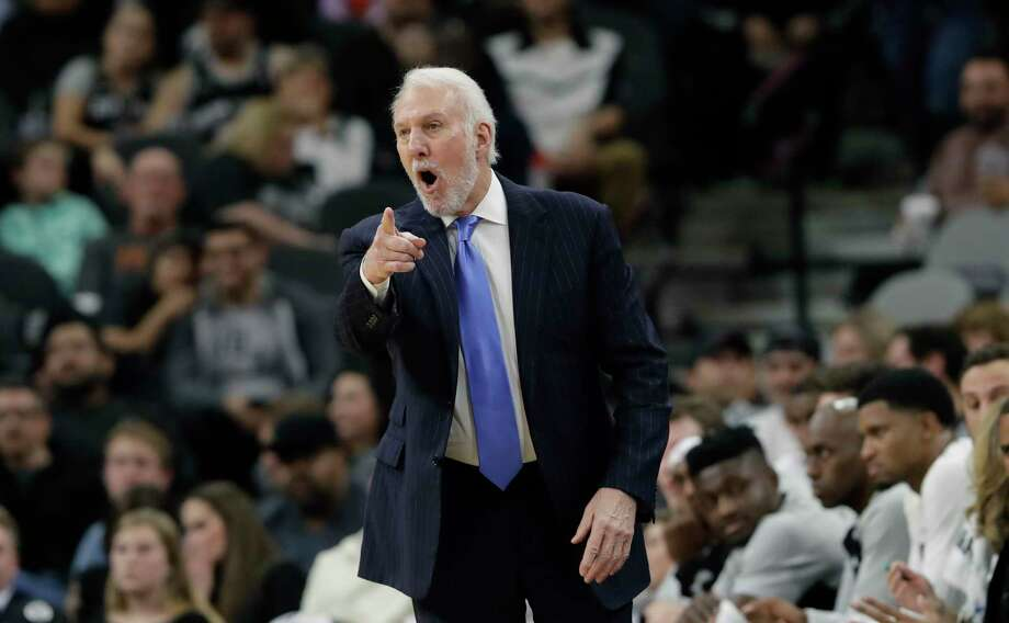 San Antonio Spurs head coach Gregg Popovich directs his players during the first half of an NBA basketball game against the Indiana Pacers, Wednesday, Oct. 24, 2018, in San Antonio. (AP Photo/Eric Gay) Photo: Eric Gay, Associated Press / Copyright 2018 The Associated Press. All rights reserved.