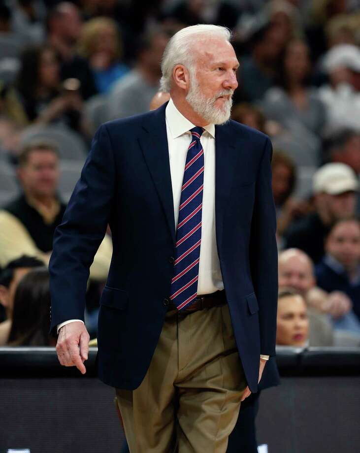 Spurs head coach Gregg Popovich strikes a grin during the game against the Indiana Pacers at the AT&T Center on Wednesday, Mar. 1, 2017. Photo: Kin Man Hui, San Antonio Express-News / ©2017 San Antonio Express-News
