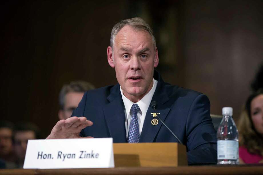 FILE - In this Jan. 17, 2017, file photo, Interior Secretary-nominee, Rep. Ryan Zinke, R-Mont. testifies on Capitol Hill in Washington. Zinke appears headed toward confirmation as the nation's next interior secretary, responsible for more than 400 million acres of public land, mostly in the West. A vote in the Senate is expected to happen on March 1. (AP Photo/J. Scott Applewhite, File) Photo: J. Scott Applewhite, STF / AP