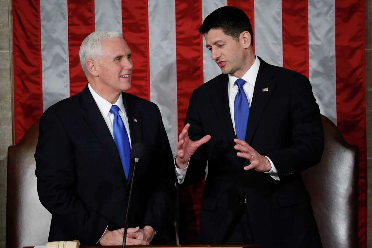 House Speaker Paul Ryan of Wis. talks with Vice President Mike Pence on Capitol Hill in Washington, Tuesday, Feb. 28, 2017, before President Donald Trump's speech to a joint session of Congress. (AP Photo/Pablo Martinez Monsivais) ORG XMIT: CAP104