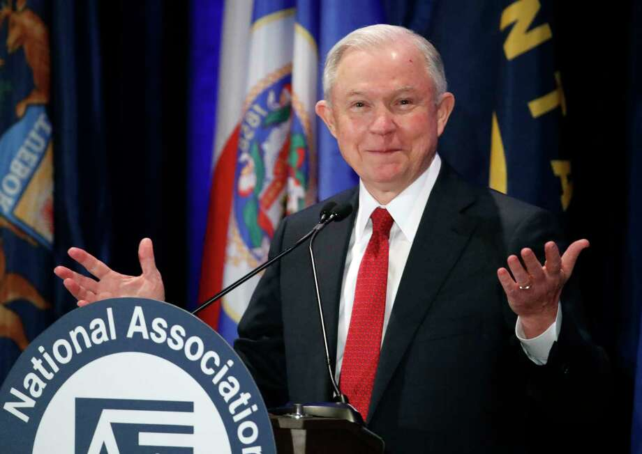 Attorney General Jeff Sessions pauses while speaking at the National Association of Attorneys General annual winter meeting, Tuesday, Feb. 28, 2017, in Washington. (AP Photo/Alex Brandon) Photo: Alex Brandon, STF / Copyright 2017 The Associated Press. All rights reserved.