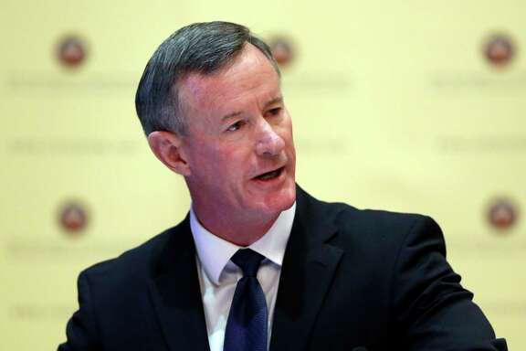 Navy Adm. William McRaven,  the next chancellor of the University of Texas System, addresses the Texas Board of Regents, Thursday, Aug. 21, 2014, in Austin, Texas. McRaven starts in January; System officials say he will make $1.2 million a year. (AP Photo/Eric Gay)