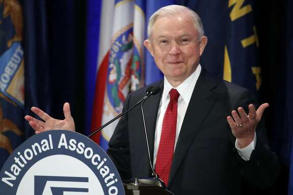 In this Feb. 28, 2017, photo, Attorney General Jeff Sessions pauses while speaking at the National Association of Attorneys General annual winter meeting in Washington. Sessions had two conversations with the Russian ambassador to the United States during the presidential campaign. The Justice Department said March 1 that the two conversations took place last year when Sessions was a senator. (AP Photo/Alex Brandon)