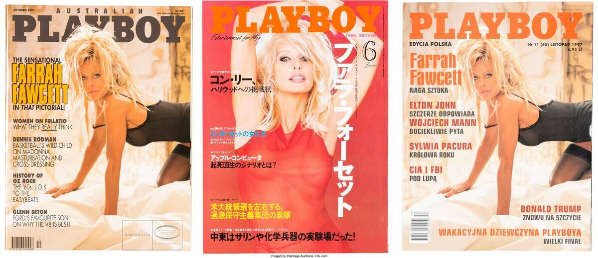 (Descriptions of items comes direct from Heritage Auctions materials)  A Farrah Fawcett Collection of Personally-Owned Playboy Magazines, 1996-1997. Extra copies sent to the star when she was the cover model including: 15 copies of the Australian edition from October 1997, 15 copies of the Japanese edition from June 1996, and 15 copies of the Polish edition from November 1997 -- all with different spreads and with slightly different images used of the star. Starting Bid: $500