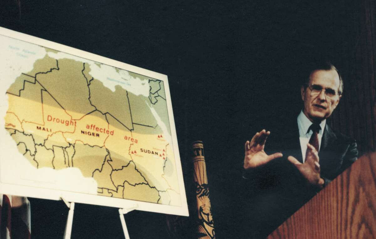 In 2017, to celebrate the Central Intelligence Agency's Cartography Center's 75th anniversary, the agency declassified maps and made them available online. Here, President George Bush is seen with a map of Africa in 1985. Keep going to see more maps that show how the CIA viewed the world. Source: CIA on Flickr