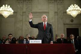 Sen. Jeff Sessions is sworn in before the Senate Judiciary Committee during his confirmation hearing to be the U.S. attorney general in January.