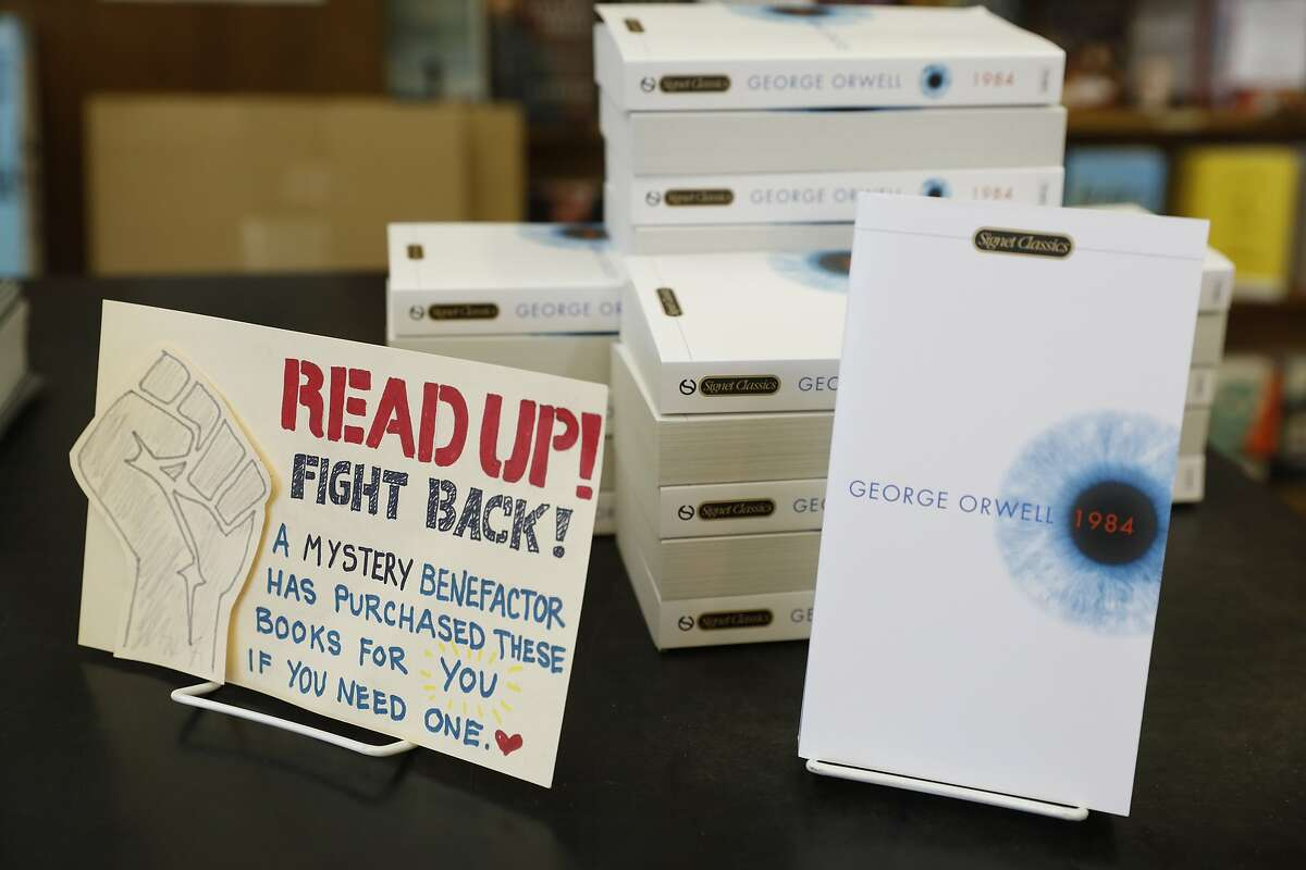 Anonymously donated copies of George Orwell's 1984 book to be given away on a first-come, first serve basis at Booksmith bookstore as seen in San Francisco, California on Wednesday March 1, 2017.