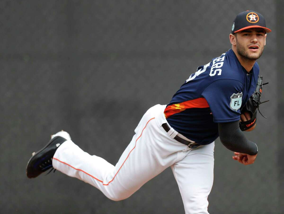 Houston Astros starting pitcher Lance McCullers (43) pitched off the two pack during spring training at The Ballpark of the Palm Beaches, in West Palm Beach, Florida, Thursday, February 16, 2017. ( Karen Warren / Houston Chronicle )
