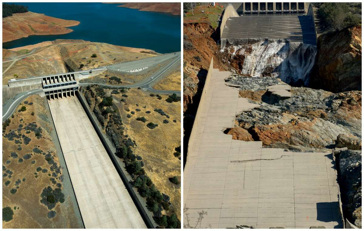 Oroville Dam Spillway: The story of a catastrophe in photos Left: 2014, the spillway never kicked into use when the lake level was low due to little rain. Right: 2017, after several weeks of heavy rain, the spillway was used heavily and eroded.