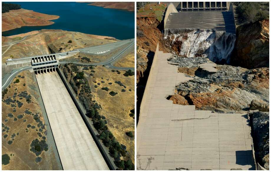 Oroville Dam Spillway: The story of a catastrophe in photosLeft: 2014, the spillway never kicked into use when the lake level was low due to little rain.Right: 2017, after several weeks of heavy rain, the spillway was used heavily and eroded. Photo: Kelly M. Grow / DWR, Brian Baer / DWR