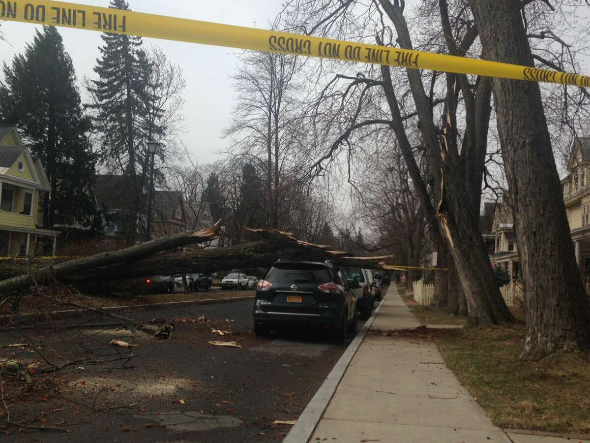 Storm damage along Glenwood Blvd in Schenectady on Friday, March 2, 2017.