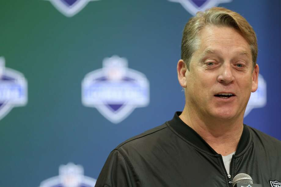 Raiders head coach Jack Del Rio today at the NFL combine. Photo: Gregory Payan, Associated Press