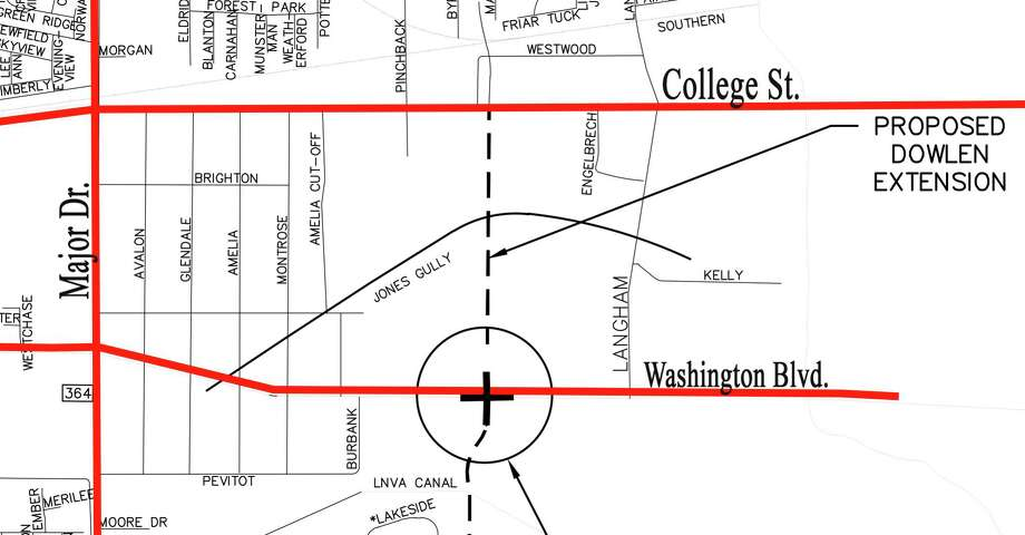 An intersection on Washington Boulevard will precede eventual construction of the Dowlen Road extension to connect College Street with Walden Road.  Map provided by the City Beaumont