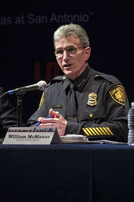 San Antonio Police Chief William McManus speaks during a town hall meeting on Sanctuary Cities at UTSA in San Antonio, Texas on January 26, 2017. Ray Whitehouse / for the San Antonio Express-News Photo: Ray Whitehouse, Photographer / For The San Antonio Express-News / B641465122Z.1