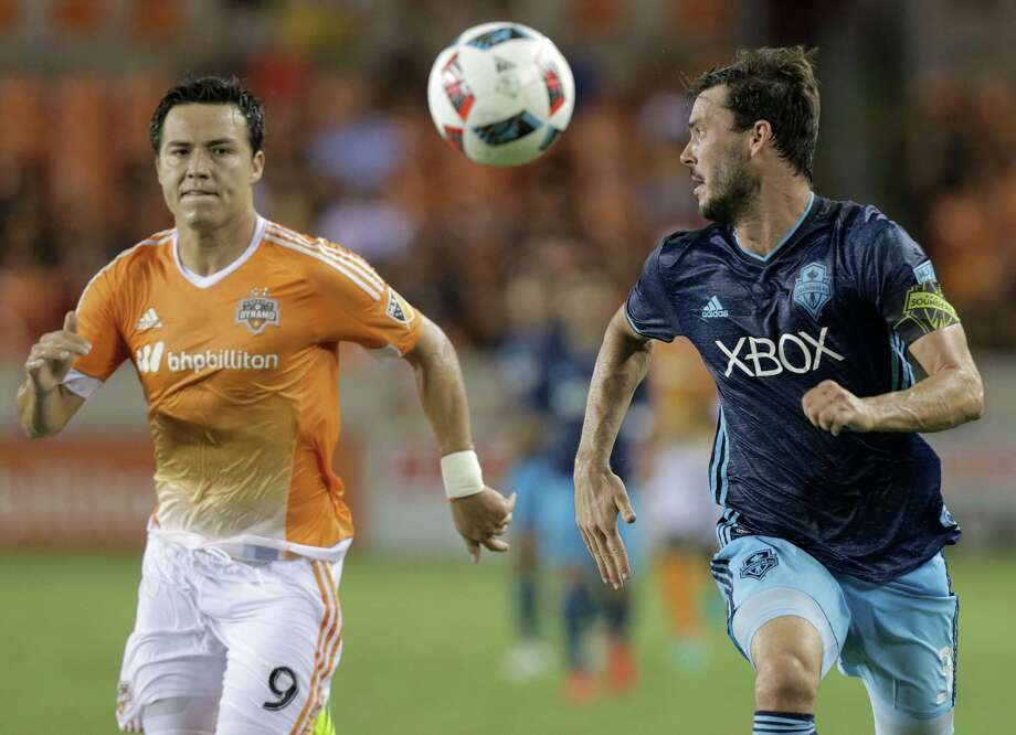Dynamo forward Erick Torres, left, is back with the team, leaner and with a singular purpose - to make the most of his second opportunity with Houston's Major League Soccer club. His first stint with the Dynamo did not end well. Photo: Elizabeth Conley, Staff / © 2016 Houston Chronicle