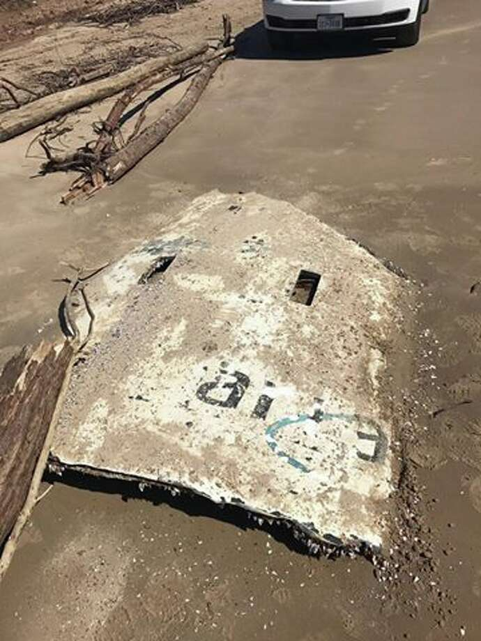 Freeport Police found a piece of a rocket on a beach in town earlier in February 2017. After contacting multiple agencies, they learned the piece came from a rocket that took off in South America. Photo: Courtesy/Freeport Police Department