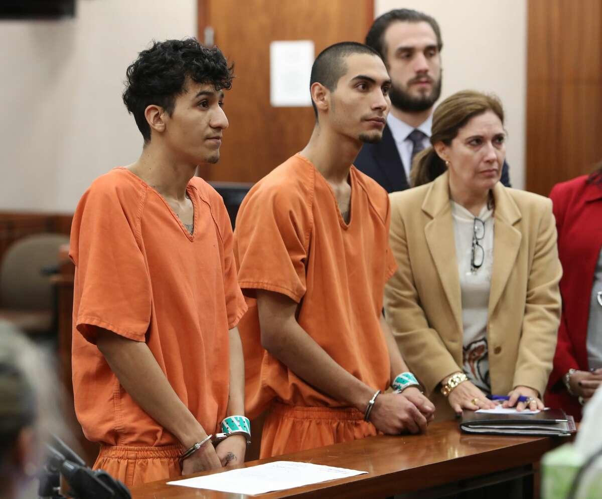 Miguel Alvarez-Flores & Diego Hernandez-Rivera suspects MS13 gang accused of satanic killing. (Steve Gonzales/Chronicle)