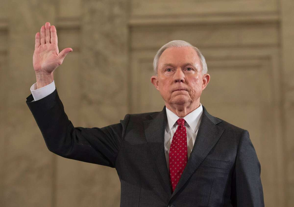 (FILES) This file photo taken on January 10, 2017 shows Sen. Jeff Sessions, R-AL, as he is sworn in before the Senate Judiciary Committee during his confirmation hearing to be Attorney General of the United States, in Washington, DC. US Attorney General Jeff Sessions said March 2, 2017he will recuse himself