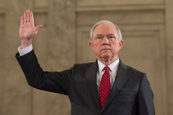 "(FILES) This file photo taken on January 10, 2017 shows Sen. Jeff Sessions, R-AL, as he is sworn in before the Senate Judiciary Committee during his confirmation hearing to be Attorney General of the United States, in Washington, DC.     US Attorney General Jeff Sessions said March 2, 2017he will recuse himself ""whenever it's appropriate"" from Justice Department probes into alleged ties between Donald Trump's campaign and the Russian government, after coming under fire himself for contacts with Moscow. Sessions met twice with Russia's ambassador to Washington last year, the White House confirmed, while he was serving as both a senator and a top foreign policy adviser to Trump's campaign.  / AFP PHOTO / MOLLY RILEYMOLLY RILEY/AFP/Getty Images"