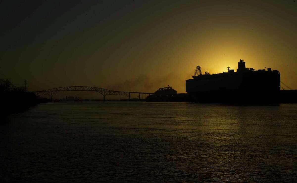 A ship docked along the Port Arthur Ship Channel Wednesday, Jan. 11, 2017, in Port Arthur.