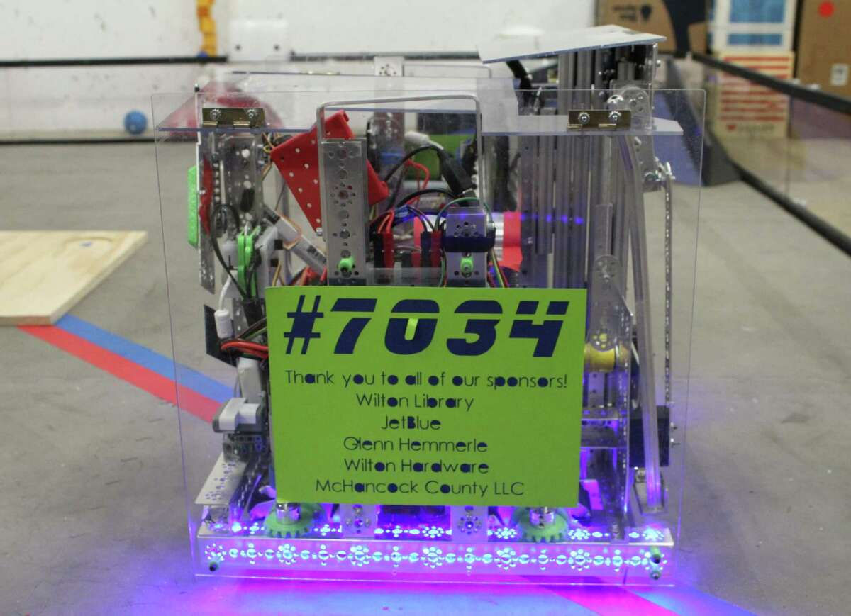 The robot built by members of Singularity Technology, Wilton Library's robotics team.