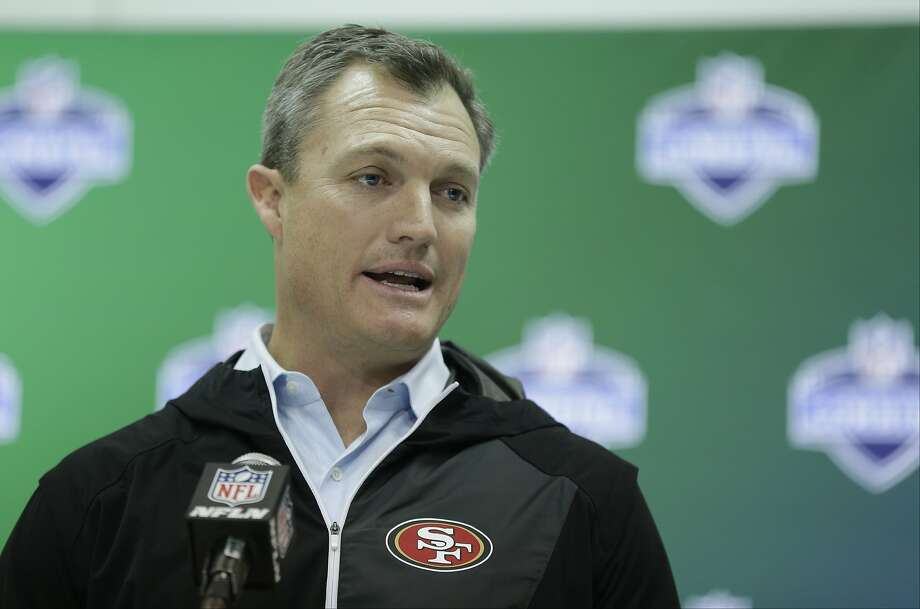 Niners general manager John Lynch speaks at the NFL Combine on March 2. Photo: Michael Conroy, Associated Press