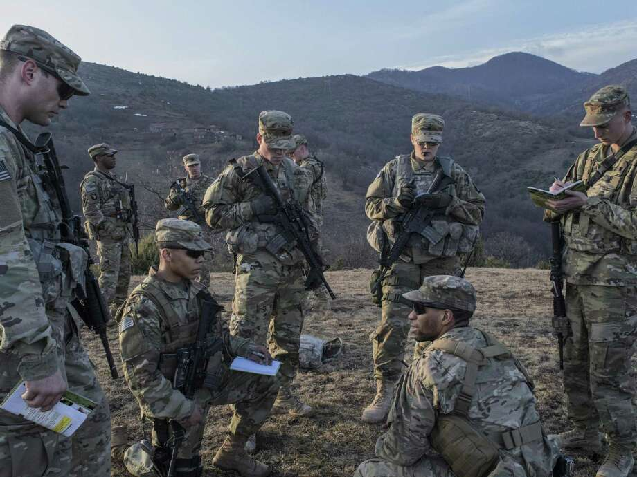 U.S. soldiers serving in a NATO-led peacekeeping patrol on the administrative boundary in northern Kosovo, Feb. 9, 2017. Russia is again stirring tensions in the volatile Balkans, at a moment when NATO and the European Union are distracted with other crises. (Laura Boushnak/The New York Times) Photo: LAURA BOUSHNAK, STR / NYT / NYTNS