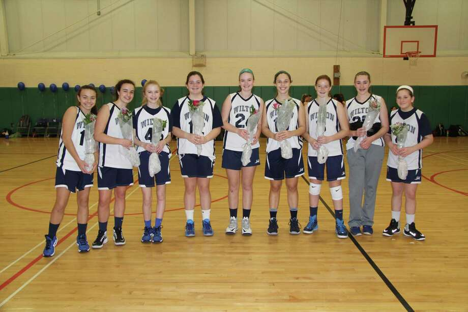 The Wilton girls grade 8 travel team played their final home game of the season and their final home game as youth warriors this past Sunday. Team members include, from left, Grace Cahill, Fiona O'Brien, Christina O'Sullivan, Caitlin Greeff, Lily Umphred, Callie Judelson, Marygrace DelliSanti, Riley Eaton and Meghan Koziolkowsky. Missing from photo is Alexis Castaldi. Photo: Contributed Photo / Hearst Connecticut Media / Norwalk Hour