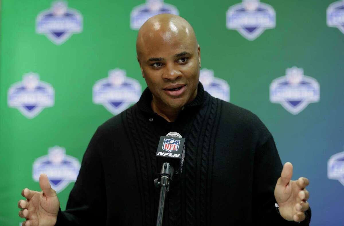 Houston Texans general manager Rick Smith speaks during a news conference at the NFL football scouting combine Thursday, March 2, 2017, in Indianapolis. (AP Photo/David J. Phillip)
