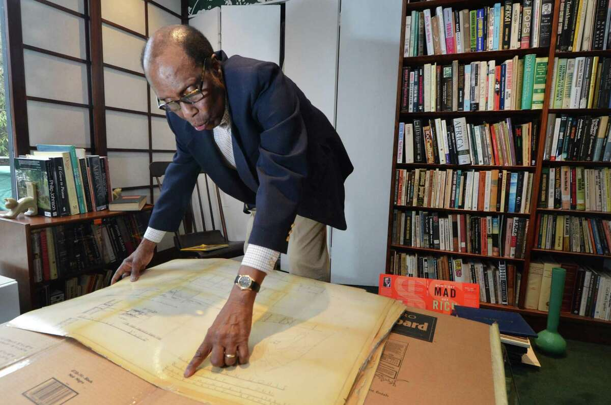 Winston Allen points to a detail on the original blueprints of his house by architect Roy Binkley Jr. Built in 1958 it is the only know example of his work in Westport Conn. and is on The National Register of Historic Places in Westport Conn on March 2, 2017