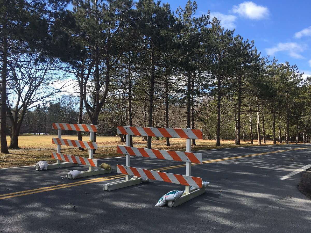 Avenue of the Pines in Saratoga Spa State Park was closed Thursday after strong wind brought down trees and limbs. (Wendy Liberatore / Times Union)