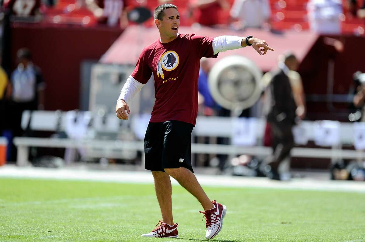 LANDOVER, MD - SEPTEMBER 22: Offensive Coordinator Matt Lafleur of the Washington Redskins watches the teams warm up before the game against the Detroit Lions at FedExField on September 22, 2013 in Landover, Maryland. (Photo by G Fiume/Getty Images)