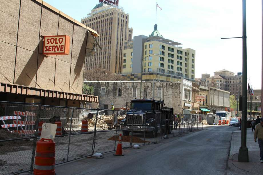 Demolition began last week on the historic downtown Solo Serve building. Photo: Tyler White
