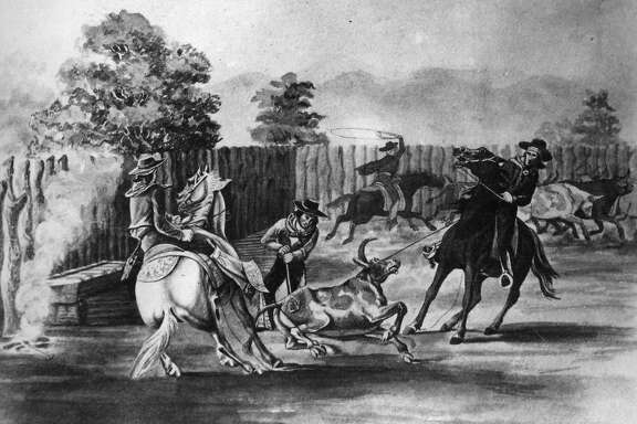 Spanish cowboys in a drawing from 1870 rounding up bulls Courtesy of Bancroft Library