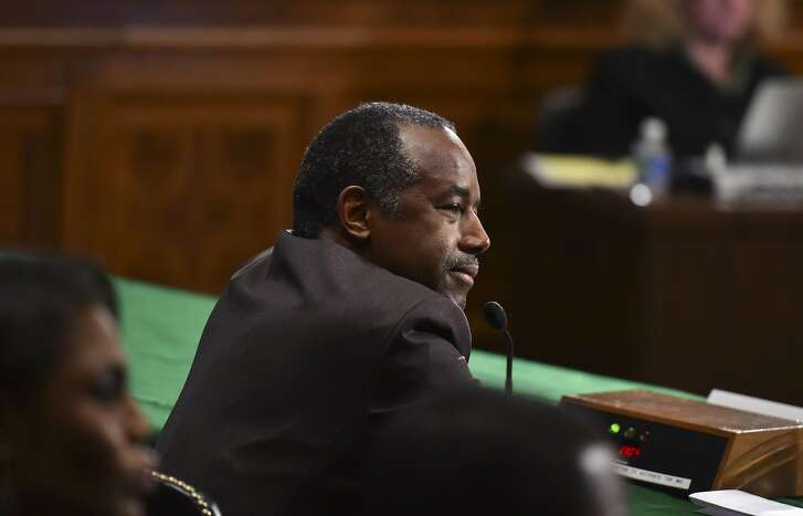 Ben Carson pauses while answering questions from the Senate Housing Committee during confirmation hearings at the Dirksen Senate Office Building on January 12, 2017 in Washington. Carson was confrimed as Secretary of HUD on March 2, 2017. MUST CREDIT: Washington Post photo by Ricky Carioti
