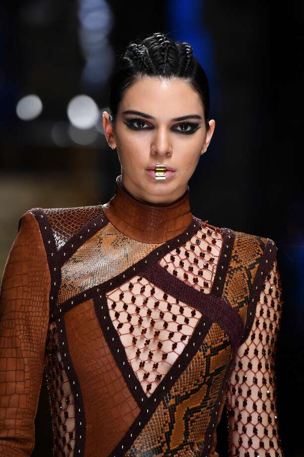 Kendall Jenner walks the runway during the Balmain show as part of the Paris Fashion Week Womenswear Fall/Winter 2017/2018. Photo: Pascal Le Segretain/Getty Images