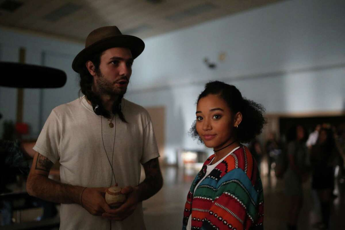 Director Miles Joris-Peyrafitte with Amandla Stenberg, a cast member of