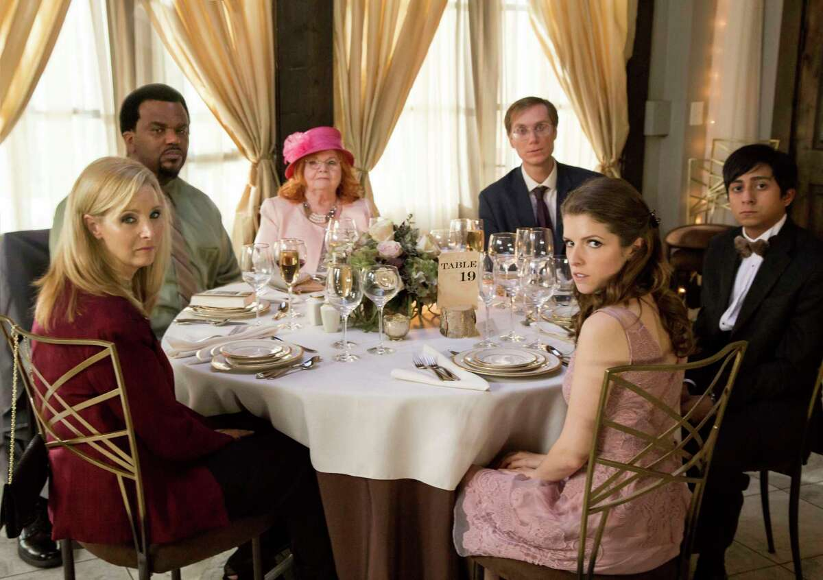 This image released by Fox Searchlight Pictures shows, from left, Lisa Kudrow, Craig Robinson, June Squibb, Stephen Merchant, Anna Kendrick and Tony Revolori in a scene from the film,