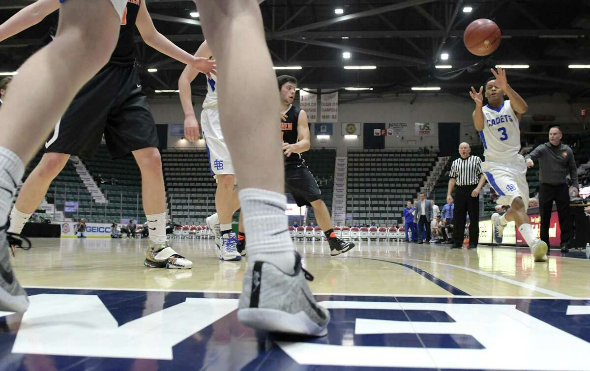 Raymond Evans of La Salle Institute receives an inbound pass from a teammate in their game against Bethlehem during their Class AA semifinal game at the Glens Falls Civic Center on Tuesday, Feb. 28, 2017, in Glens Falls, N.Y. (Paul Buckowski / Times Union)