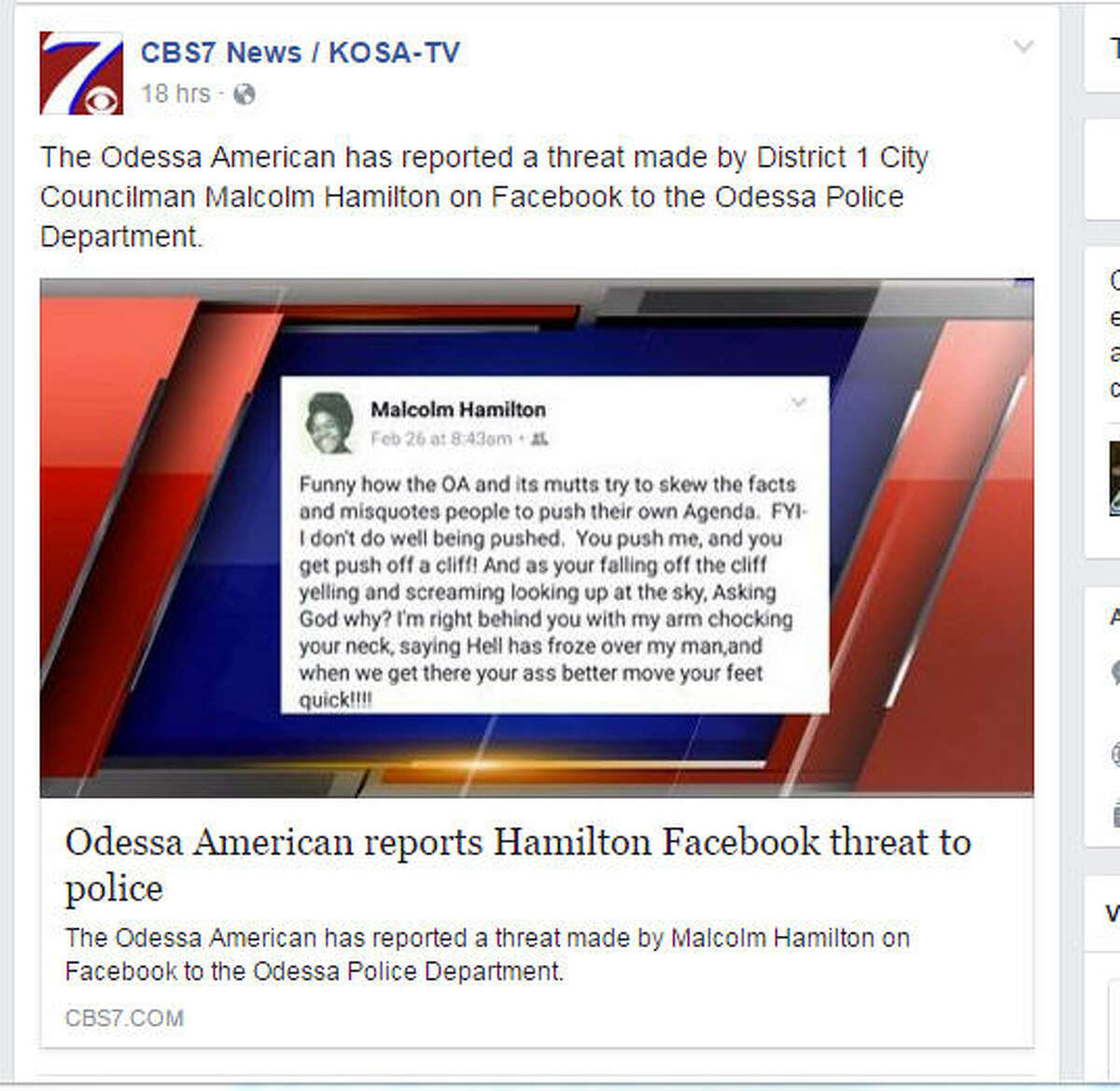 Odessa City Councilman Malcolm Hamilton allegedly posted a private Facebook message that appeared to threaten the Odessa American, leading the newspaper to report the threat to local police. (Facebook/via CBS7.)