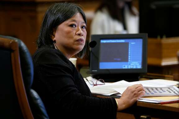 Supervisor Sandra Fewer attends a meeting of the Budget and Finance Sub-Committee at City Hall in San Francisco, Calif. on Thursday, March 2, 2017 to consider appropriating funds to establish a legal unit within the public defender's office to defend immigrants in deportation cases.