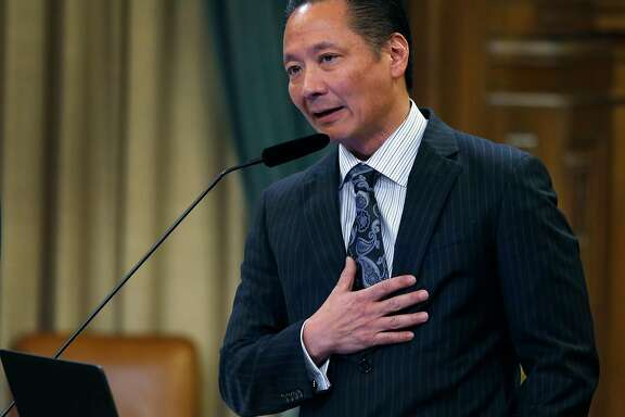 Public Defender Jeff Adachi speaks at a meeting of the Budget and Finance Sub-Committee at City Hall in San Francisco, Calif. on Thursday, March 2, 2017 which will consider appropriating funds to establish a legal unit within Adachi's office to defend immigrants in deportation cases.
