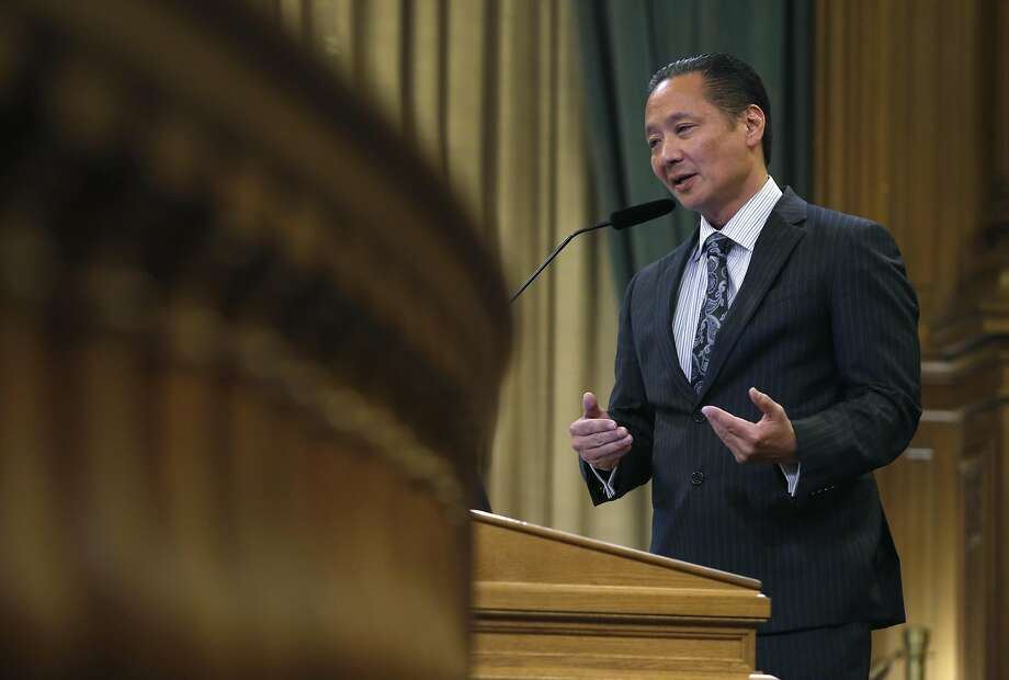 Public Defender Jeff Adachi speaks at a meeting of the Budget and Finance subcommittee at City Hall in San Francisco on Thursday. Photo: Paul Chinn, The Chronicle