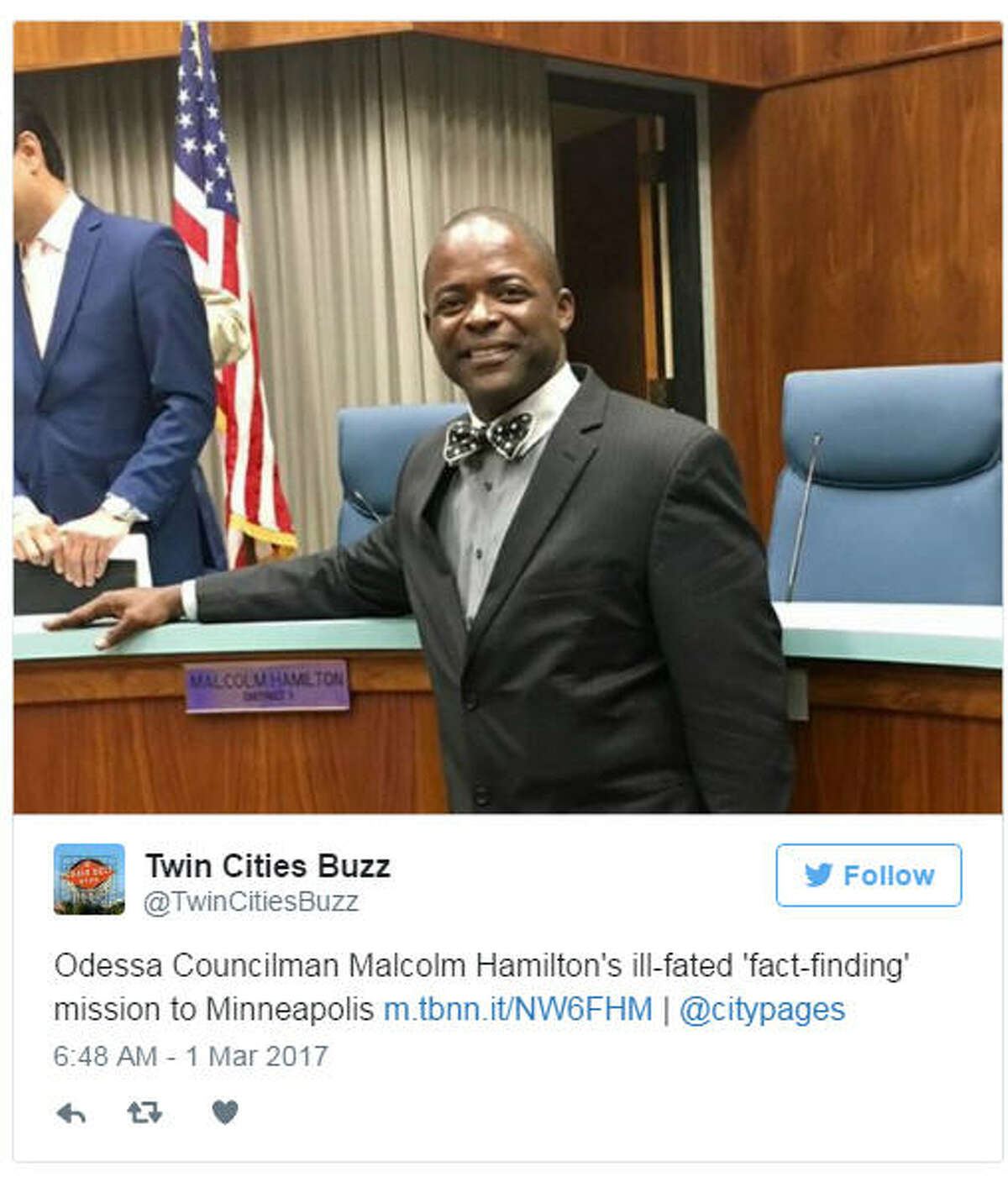 Odessa City Councilman Malcolm Hamilton allegedly posted a threatening message on Facebook about the Odessa American, which has published articles questioning his trip to Minneapolis at taxpayer expense. (Twitter via @TwinCitiesBuzz)