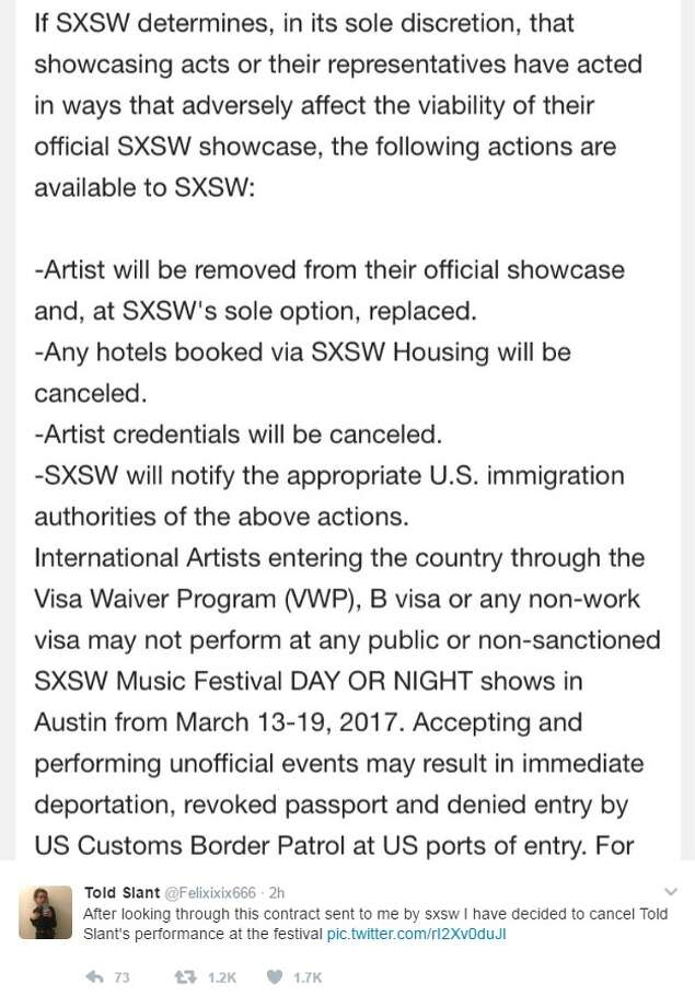 "@Felixixix666: ""After looking through this contract sent to me by sxsw I have decided to cancel Told Slant's performance at the festival"" Photo: Courtesy/Twitter"
