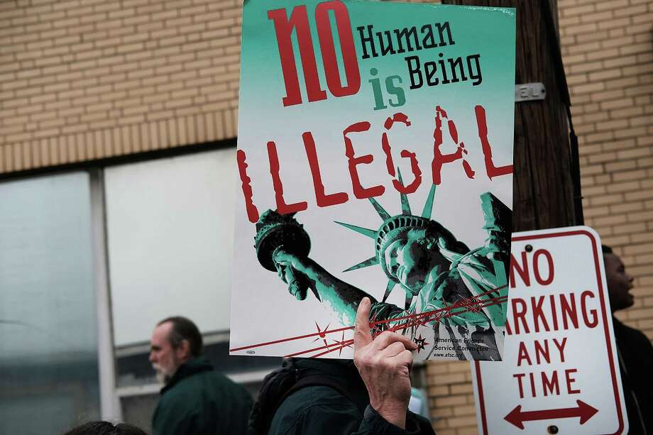 President Trump's immigration policies essentially mimick President Obama's. People protest outside of the Elizabeth Detention Center during a rally attended by immigrant residents and activists on Feb. 23 in Elizabeth, New Jersey. Photo: Spencer Platt /Getty Images / 2017 Getty Images