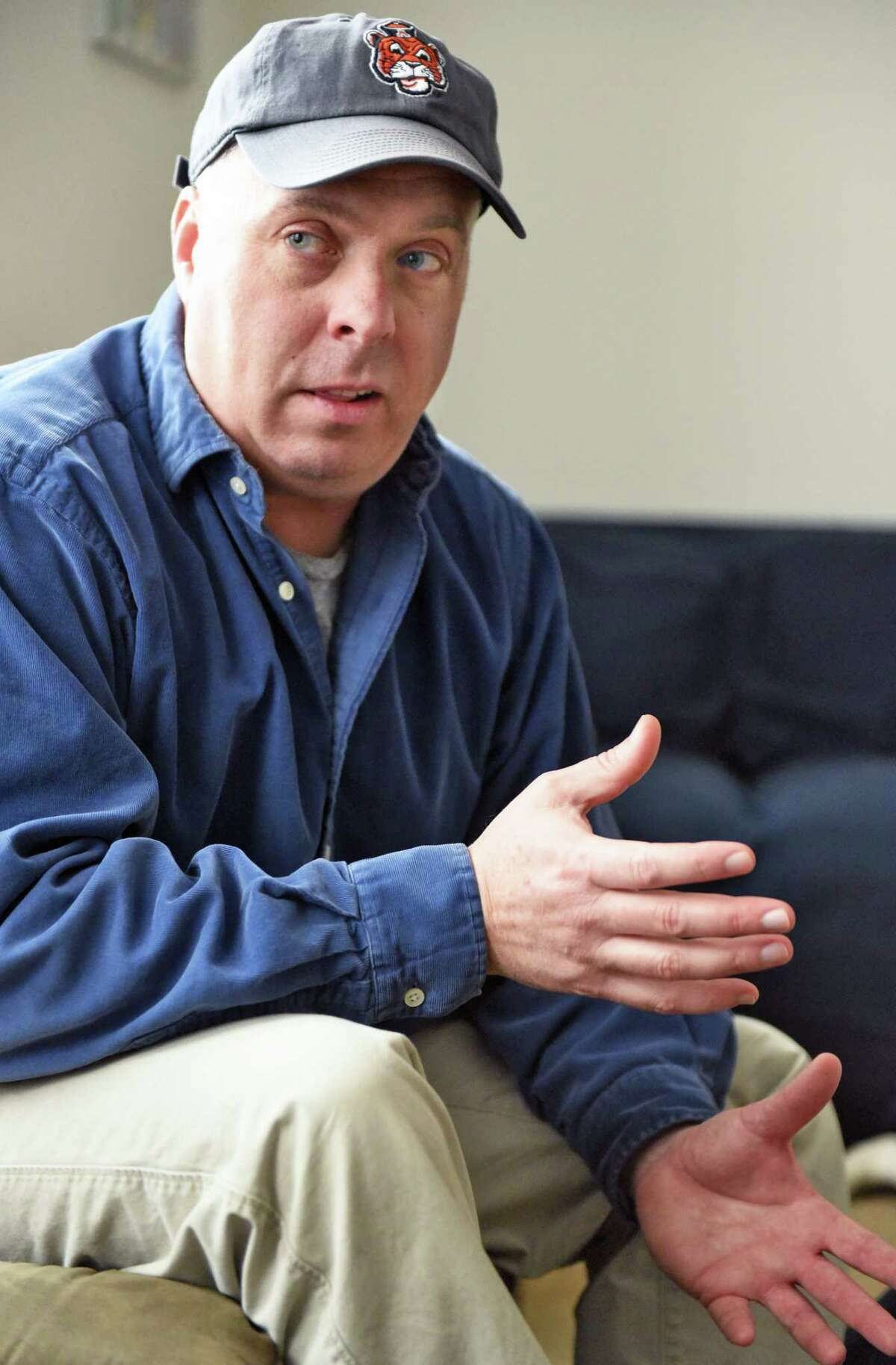 Jason Gough discusses being sexually abused as a child during an interview at his home Friday Feb. 17, 2017 in Delmar, NY. (John Carl D'Annibale / Times Union)
